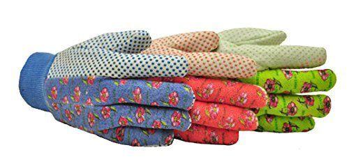 G   F 1852 3 Women Soft Jersey Garden Gloves  Women Work Gloves  3 Pairs Green Pink Blue per Pack