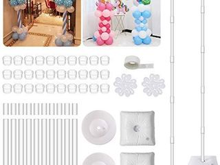 IDAODAN 2 Set Balloon Column Kit Base Stand and Pole 61 inch Height  UPGRADED    30Pcs Balloon Rings  Balloon Tower Decoration for Birthday Party Wedding Party Event Christmas Decorations