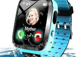 Kids Waterproof Smart Watch Phone Girls Boys Smartwatch with lBS Tracker Two Way Call SOS Micro Chat Camera Anti lost Math Game Touch Screen Games Alarm Clock Gizmo Watch Birthday Gifts