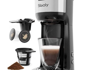 Sboly Single Serve Coffee Maker Brewer for K Cup Pod   Ground Coffee Thermal Drip Instant Coffee Machine with Self Cleaning Function  Brew Strength Control