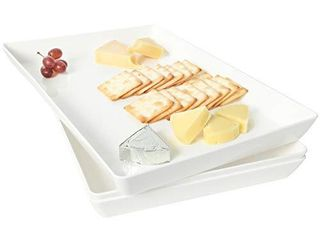 Youngever 3 Pack Plastic Serving Trays  Serving Platter for Parties  Sturdy ABS material  15 inch x 10 inch  White