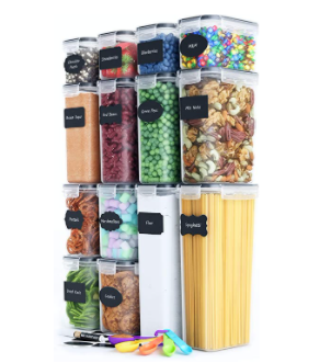 chef s path food storage container set   14 piece set free spoon set  Chalkboard labels And Marker