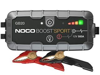 NOCO Boost Sport GB20 500 Amp 12 Volt UltraSafe lithium Jump Starter Box  Car Battery Booster Pack  Portable Power Bank Charger  and Jumper Cables For 4 liter Gasoline Engines