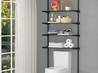 AllZONE 4 Tier Over Commode Shelving  Over The Toilet Storage Rack  No Drilling  Easy to Assemble  Pole Height 92 116 Inch  Whitea