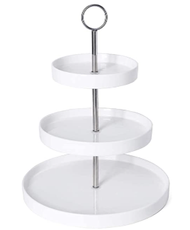 Sweese 734 101 3 Tier Porcelain Cupcake Stand  Tiered Dessert Stand  Cake Stand   White Porcelain Round Plates for Tea Party Wedding Baby Shower Buffet Server