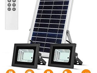 Solar lights Outdoor Remote Dual 42 lEDs lights with 7 5  X 11 4  light Sensor Solar Panels of 15ft Separated Cables IP65 Waterproof lamps for Shed Barn Sign Billboard Pool Flag Pole
