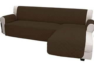 Easy Going chaise reversible sofa cover quality easy care anti slip foam to make the fabric or tight water resistant machine washable reversible color brown