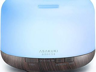 ASAKUKI 500ml Premium  Essential Oil Diffuser  5 in 1 Ultrasonic Aromatherapy Fragrant Oil Humidifier Vaporizer  Timer and Auto Off Safety Switch