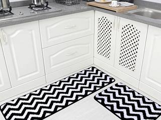 Carvapet 2 Pieces Microfiber Chevron Non Slip Soft Kitchen Mat Bathroom Rug Set Water Absorbent Bath Runner Carpet Set  20 x63 20 x31  Black