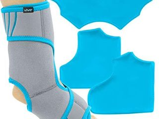 Vive Ankle Ice Pack Wrap   Foot Cold   Hot Compression Brace   Adjustable Freeze Support For Cooling   Heating Achilles Injuries  Tendonitis  Plantar Fasciitis  Sore Feet  Inflammation  Muscle Sprain