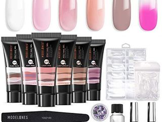 Modelones Poly Nail Gel Kit Enhancement Builder Temperature Color Changing Acrylic Extension with Slip Solution Trial Professional Technician All in One French Kit