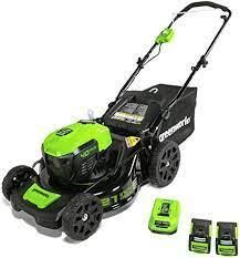 Greensworks lawn mower with charger and 2 batterys with bag
