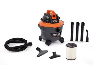 RIDGID 9 Gal  18 Volt Cordless Wet Dry Shop Vacuum  Tool Only  with Filter  Hose and Accessories  Oranges Peaches