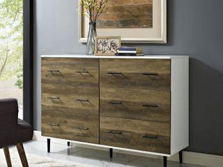 36  H x 52  W x 16  l Modern Wood 6 Drawer Buffet   White Rustic Oak