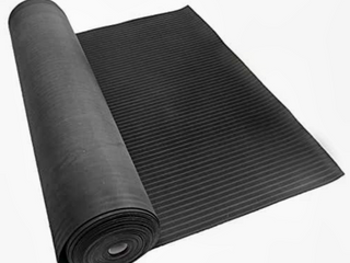 Rubber Cal  Composite Rib  Corrugated Rubber Floor Mats   1 8 in x 4 ft x 15 ft Black Rubber Roll