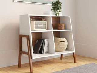 Nathan James Telos Glossy White and Brown 4 Cube Storage Organizer Open Shelves and Angled Design Cubby Shelf
