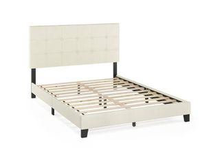 Furinno laval Button Tufted Bed Frame  12PC Slat Style  linen  Queen