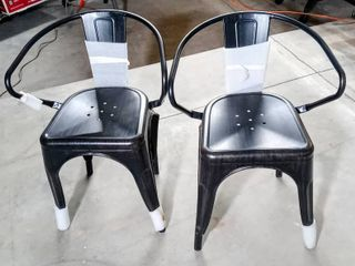 Two Flash Furniture Black Antique Gold Metal Indoor Outdoor Chair with Arms   ONE is Damaged  Bent Back legs