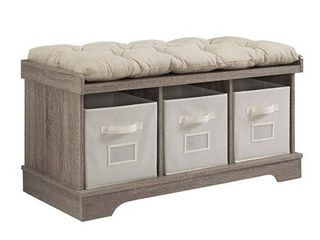 3 Tote Cubby Storage Bench in Driftwood with Cushion