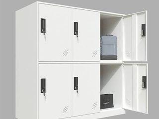 Brown  amp  White 6 Door Metal locker Cabinet   39 3  H x 35 4  W x 15 75  D