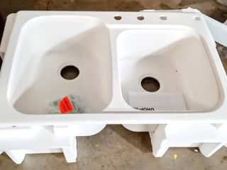 Swan Solid Surface Kitchen Sink  33  x 22  with 4 Faucet Holes