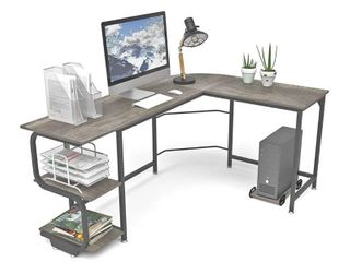 Teraves Reversible l Shaped Desk with Shelves Round Corner Computer Desk Gaming Table Workstation for Home Office  68 8  x 53  x 29 5