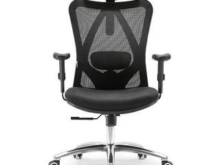 SIHOO Ergonomic Office Chair Computer Desk Chair  Adjustable Mesh Chair with lumbar Support  Thick Seat Cushion  Reliable Armrest Black