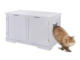 Sweet Barks X large Designer Cat Washroom Storage Bench Cat litter Box Enclosure Furniture Box House with Table