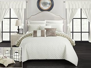Chic Home Comforter Set Reversible Geometric Quilted Design with Decorative Pillow   Queen Size   Beige