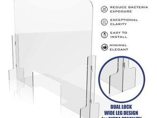 GUARDMATE   Premium Plexiglass Shield Commercial Grade Sneeze Guard   DUAl lOCK Design 32 W x 24 H Acrylic Divider Protection Portable Plastic Barrier Shield Reception Desk Cashier Checkout Counter