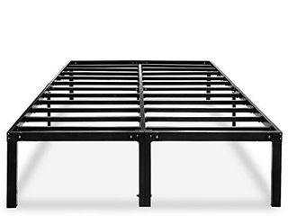 Metal Platform Bed Frame Queen Size Heavy Duty 14 Inch Beds No Box Spring Steel Slat Frames with Storage Black  AQ