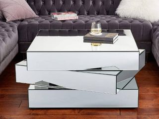 Retails  800 Meridian Furniture Haven Collection Modern Contemporary Mirrored Coffee Table Featuring a Bold Geometric Design  39 5  W x 39 5  D x 18 5  H