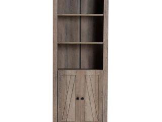 75 4  Derek Wood 2 Door Bookcase Oak   Baxton Studio