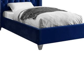 Footboard Rails ONlY   No Headboard  Meridian Furniture Aiden Collection Modern   Contemporary Velvet Upholstered  Solid Wood Frame  and Custom Chrome legs  Twin  Navy