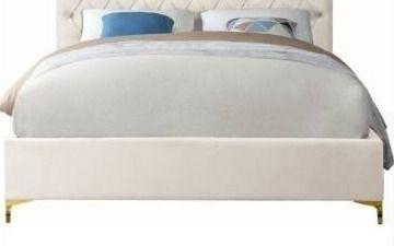 No Headboard  Cruz Upholstered Platform Bed  Cream