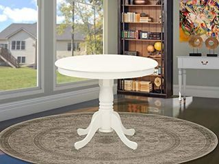 East West Furniture ANT lWH TP Amazing Dinner Table   linen White Table Top Surface and linen White Finish legs Solid Wood Frame Dining Table