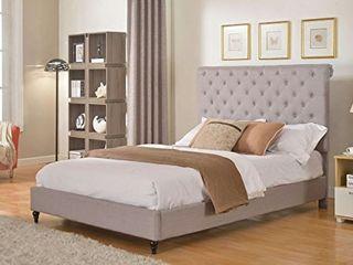 No Headboard  Home life Model Grey Cloth linen Platform Bed