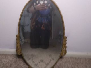 Small Oval Vintage Mirror with Gold Tone Wooden Frame   Mirror Has Etched Flowers