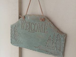 Plastered Forest Themed Hanging Welcome Sign with leather Strap