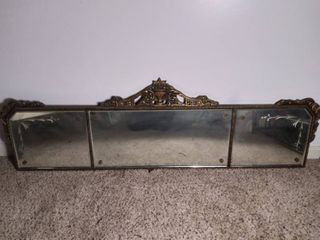 Vintage The Beauty line Central Glass Company Incorporated long Mirror with Wooden Framed and Etches Glass   Some of Wooden Frame is Broken Falling Apart