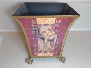 Metal Decorative Bucket with Claw Feet   Camel Design with lion Head Handles