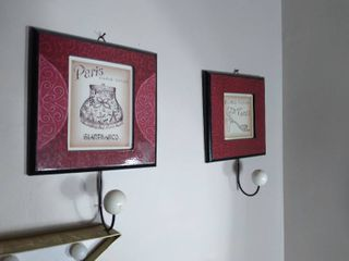 lot of 2 Wall Hanging Picture Frames Towel Hooks