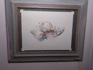 Framed Paper Machete and Water Colored Seashell made by Artist leAnne