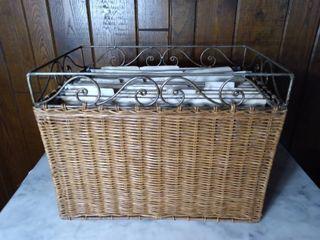 Metal and Wicker Filing Basket