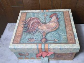 Decorative Thick Card Board Storage Box Designed by Susan Winget   Rooster