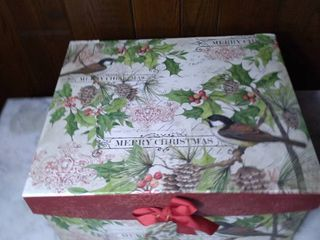 Decorative Thick Card Board Storage Box Designed by Susan Winget   Christmas Bird