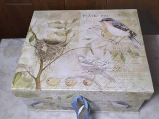 Decorative Thick Card Board Storage Box Designed by Susan Winget   Blue Birds
