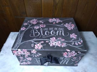 Decorative Thick Card Board Storage Box Designed by Susan Winget   Cherry Blossoms