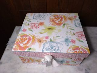 Decorative Thick Card Board Storage Box Designed by Susan Winget   Water Color Roses