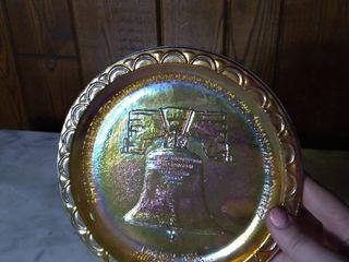 Marigold Carnival Glass Plate   liberty Bell Plate